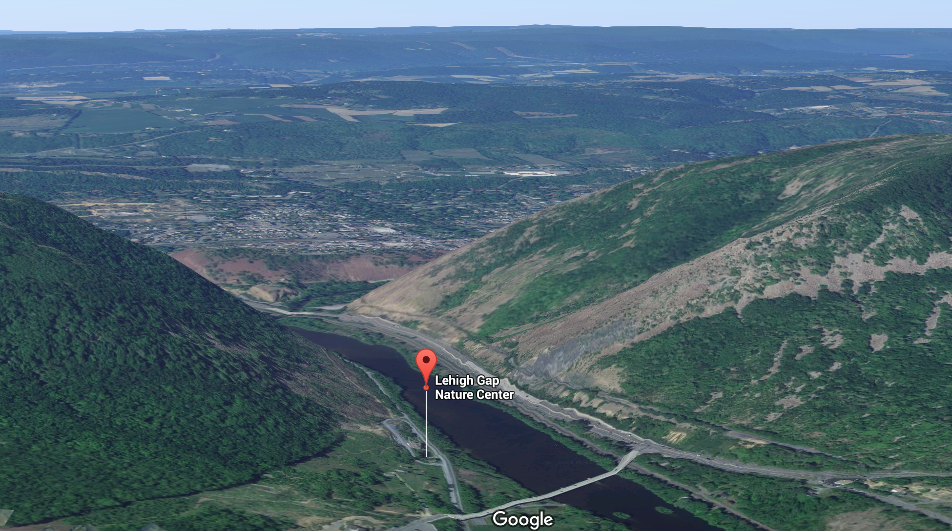 3D map of Lehigh Gap Nature Center's location in Lehigh Gap.